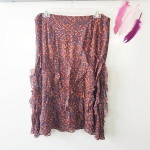 Size 12   Sundance Midi Lined Skirt Ruffles Frills